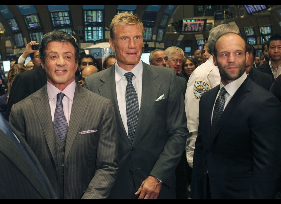 """Cast members of """"The Expendables"""" Jason Statham, right, Dolph Lundgren, center, and Sylvester Stallone wait to be interviewed"""