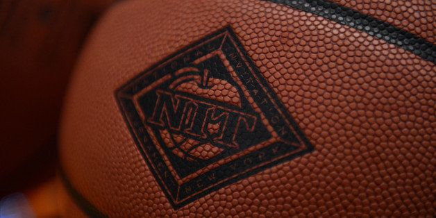KNOXVILLE, TN - MARCH 20, 2013: The NIT logo on the ball during the tournament matchup between the Mercer Bears and the Tenne
