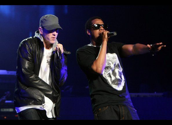 """NEW YORK-SEPTEMBER 13 Jay-Z and Eminem are bringing their """"hometown"""" stadium tour to NYC for two nights.  The concert starts"""