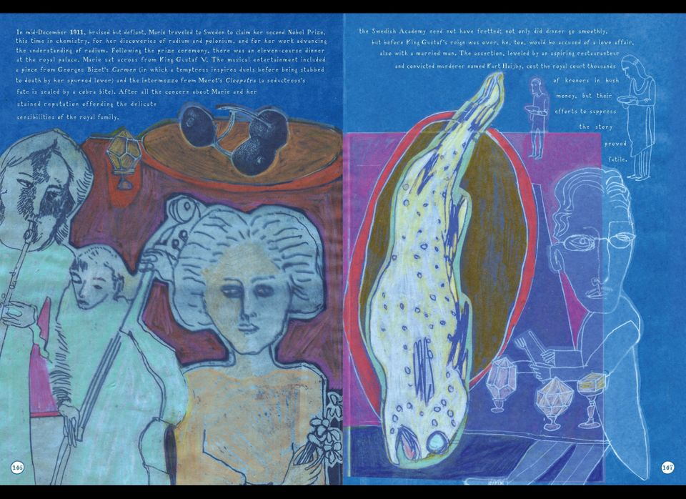 Lauren Redniss. Radioactive: Marie & Pierre Curie, A Tale of Love and Fallout, pp146-147. New York: HarperCollins, 2010.