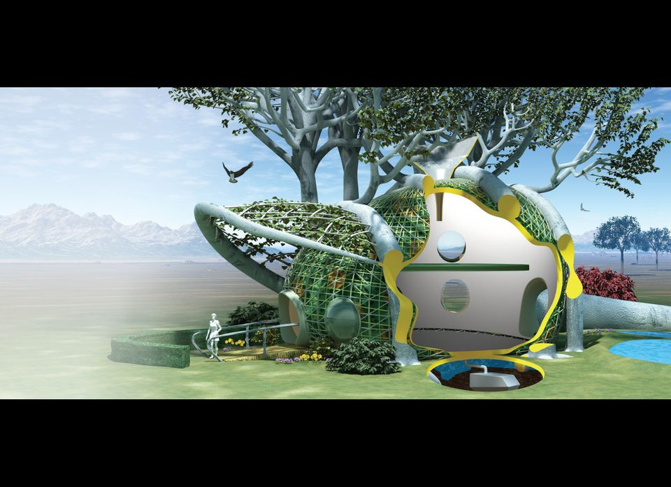A home grown from native trees designed by Terreform ONE. A living structure is grafted into shape with prefabricated Compute