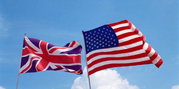 American and UK flags flying together