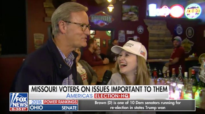 Steve Doocy interviews a MAGA fan at a bar.