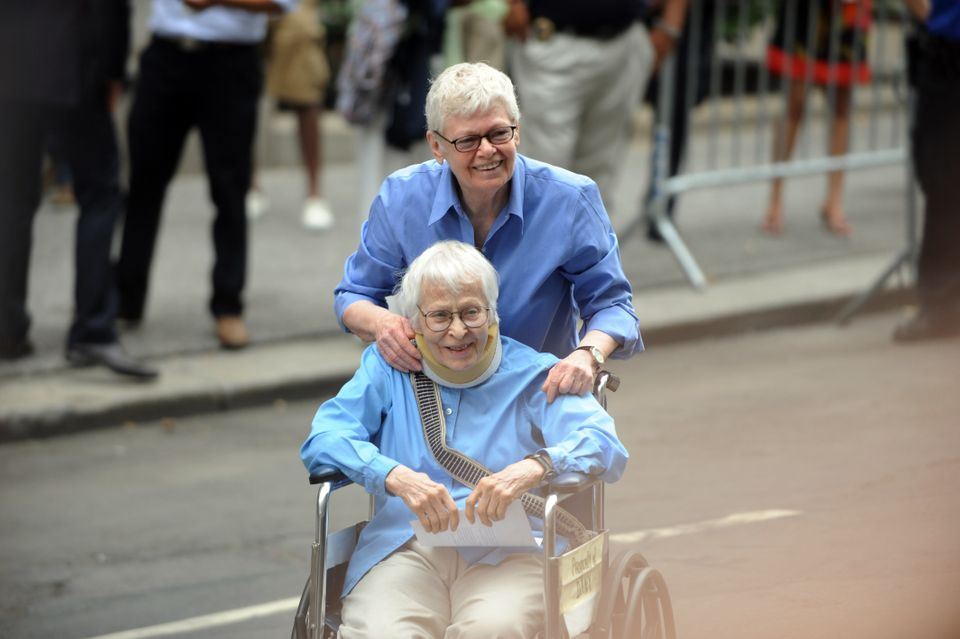 Phyllis Siegel and Connie Kopelov walk out of the Manhattan City Clerk's office after becoming the first gay couple to be mar