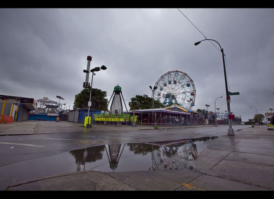 Coney Island is deserted after residents were ordered by the city to evacuate on Saturday, August 27, 2011.  (Myra Iqbal, AOL