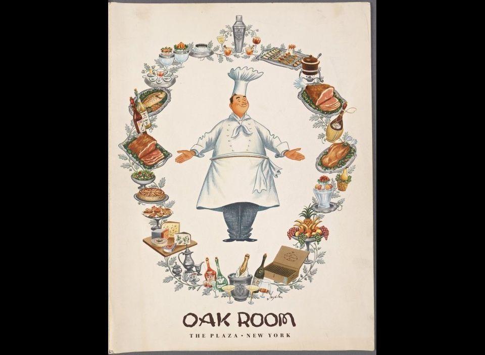 Oak Room, The Plaza Hotel. Folder, 1958. Rare Book Division, NYPL. Digital Gallery: 1687379.