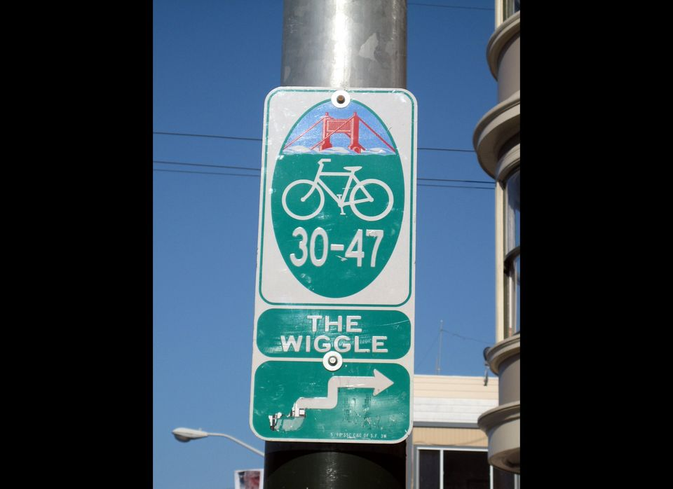 The Wiggle is a one-mile bicycle route from Market Street to Golden Gate Park that minimizes hilly inclines for bicycle rider