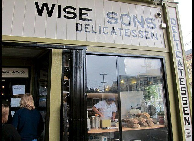 """The director quietly stopped by for a sandwich on August 16. """"We fixed the table!"""" Wise Sons proprietor Leo Beckerman <a href"""