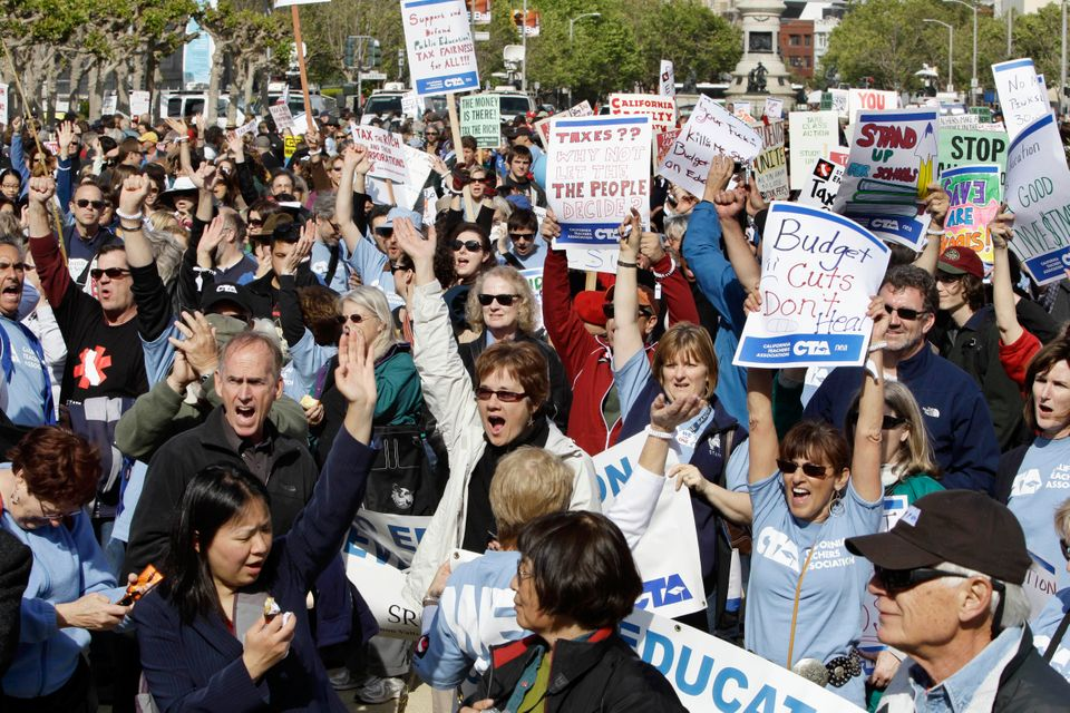 Hundreds of teachers protest against budget cuts outside of City Hall. May 3, 2011.