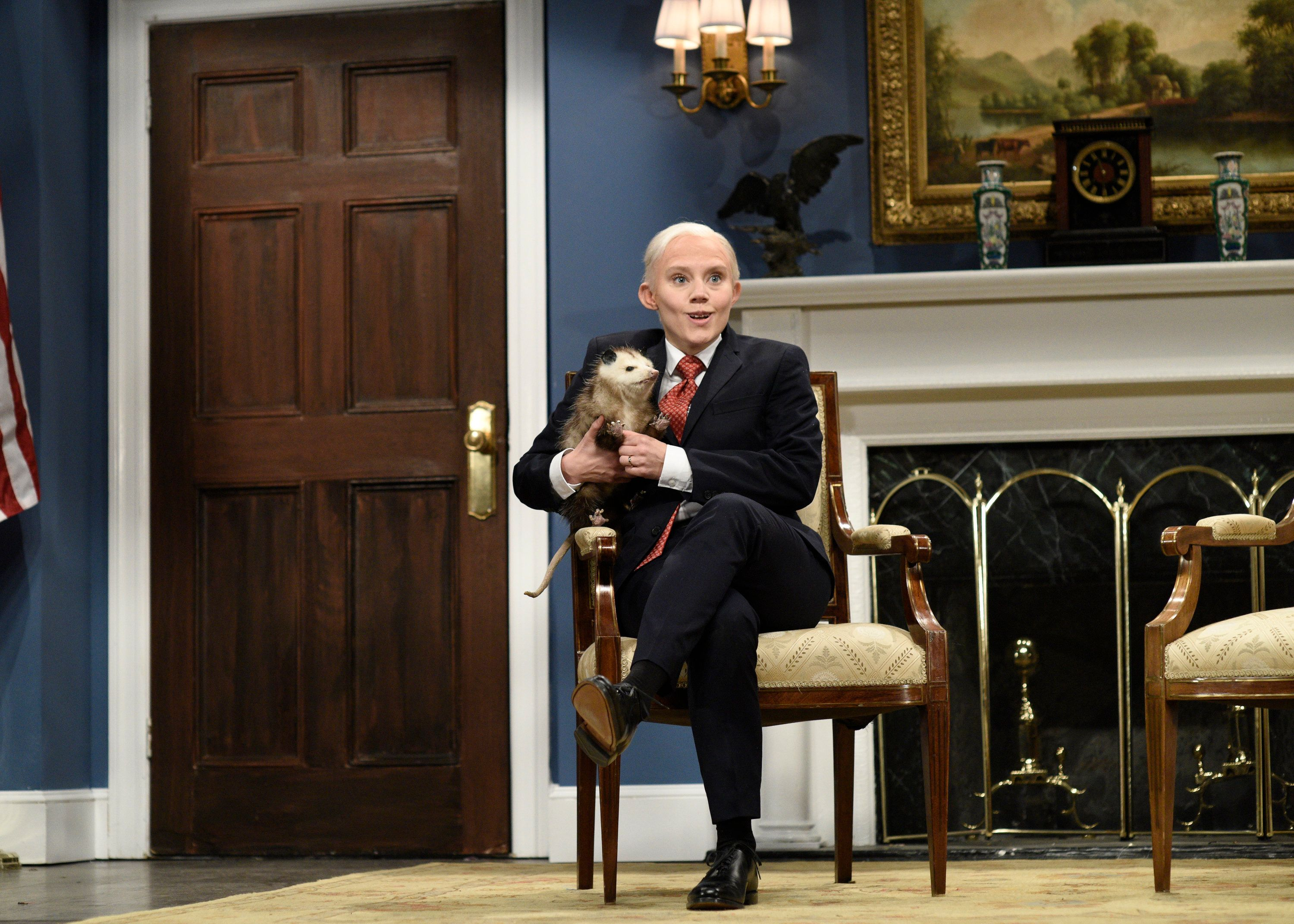SATURDAY NIGHT LIVE -- Episode 1730 -- Pictured: Kate McKinnon as Attorney General Jeff Sessions during the Cold Open in Studio 8H on Saturday, November 11, 2017 -- (Photo by: Will Heath/NBC/NBCU Photo Bank via Getty Images)