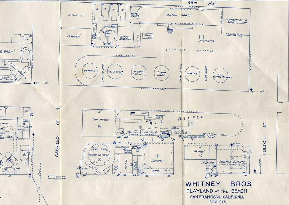 The southern portion of Whitney Brothers Playland at the Beach Map – east = 48th Avenue, south = Fulton Street, west = Great