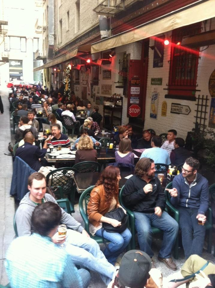 """Settled in an alley, this hidden <a href=""""http://www.theirishbank.com/"""" target=""""_blank"""">Financial District pub </a>has great"""