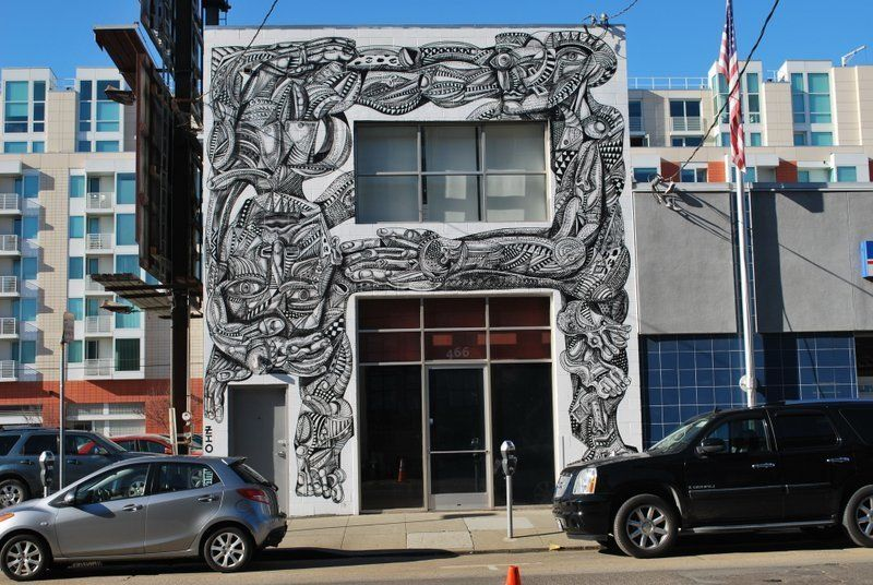 "The<a href=""http://www.ianrossgallery.com/"" target=""_blank""> Ian Ross Gallery </a>in SoMa features an exterior mural created"