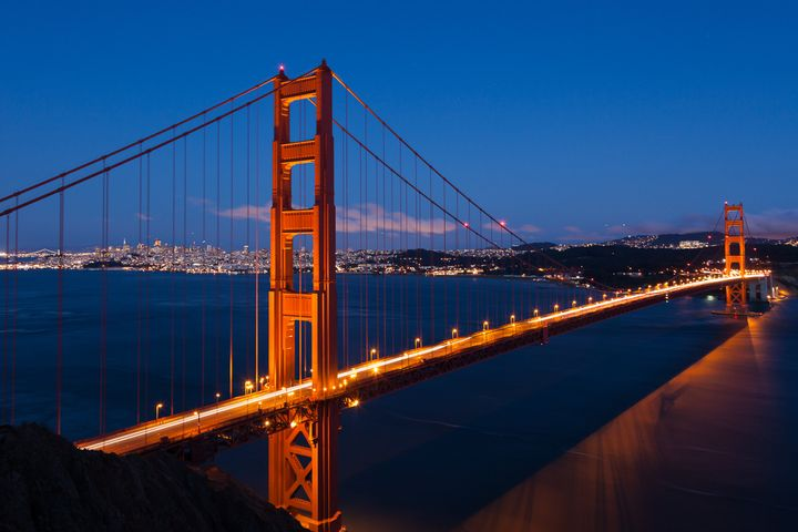 golden gate bridge by night in...