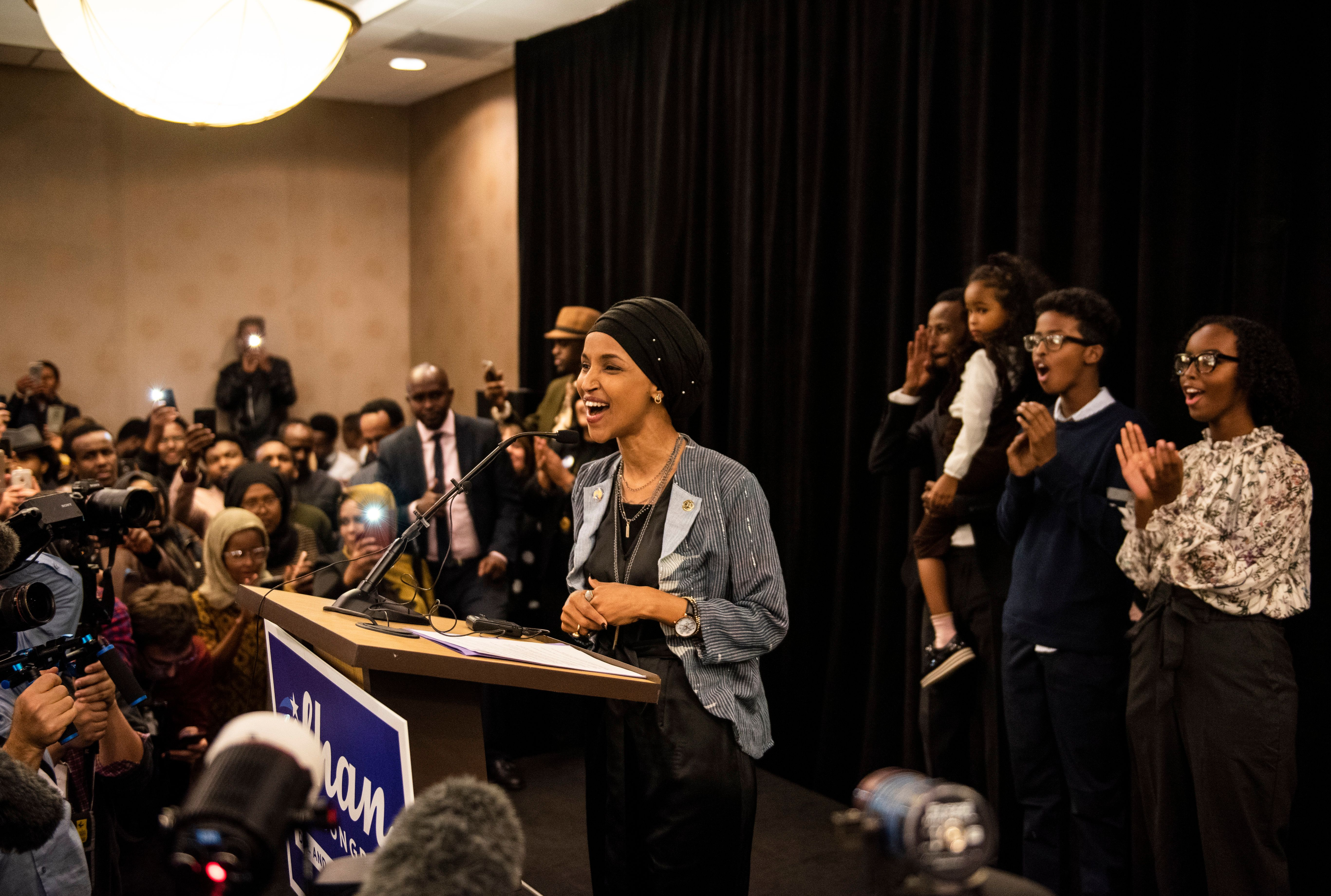 MINNEAPOLIS, MN - NOVEMBER 06: Minnesota Democratic Congressional-elect Ilhan Omar speaks at an election night results party on November 6, 2018 in Minneapolis, Minnesota. Omar won the race for Minnesota's 5th congressional district seat against Republican candidate Jennifer Zielinski to become one of the first Muslim women elected to Congress. (Photo by Stephen Maturen/Getty Images)