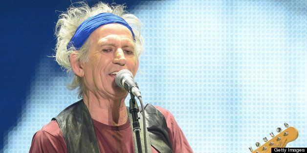 Keith Richards  of The Rolling Stones perform at Staples Center launching of their '50 & Counting' tour on May 03, 2013 in Lo