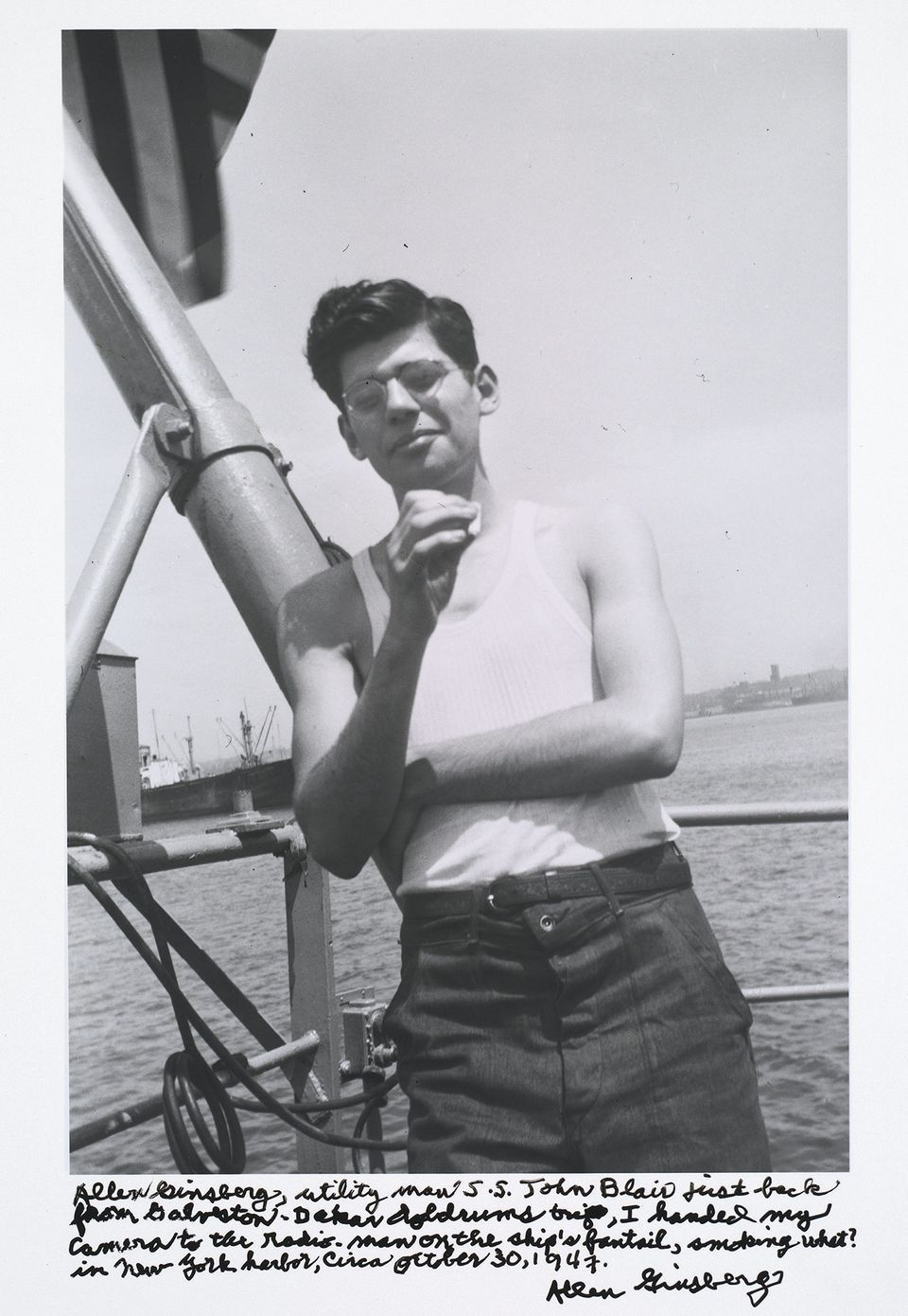 Allen Ginsberg, utility man S.S. John Blair just back from Galveston-Dakar doldrums trip...,1947.