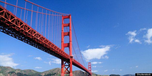 golden gate bridge and rocks as ...