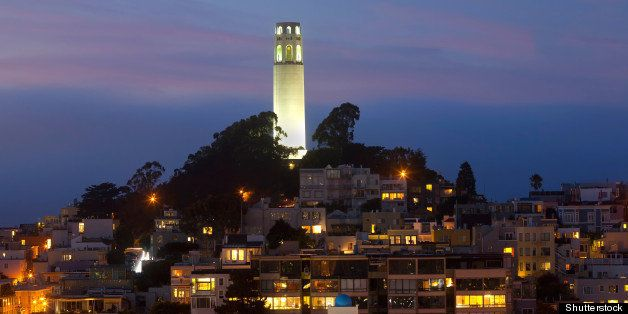 'coit tower' by night.  san...