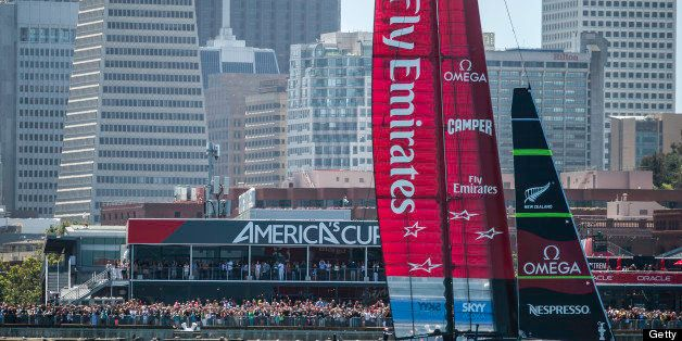 SAN FRANCISCO, USA - JULY 13: (SOUTH AFRICA OUT) Emirates Team New Zealand skippered Dean Barker (NZL) wins over Luna Rossa s