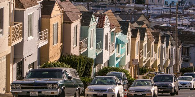 SAN FRANCISCO, CA - SEPTEMBER 20:  Cars are parked along a row of houses on Potrero Hill on September 20, 2013, in San Franci