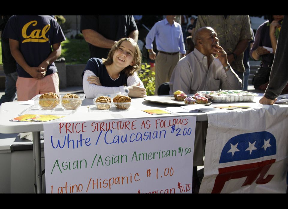 "A student who identified herself as 'Hannah"" sells baked goods during a bake sale led by the Berkeley College Republicans Tue"