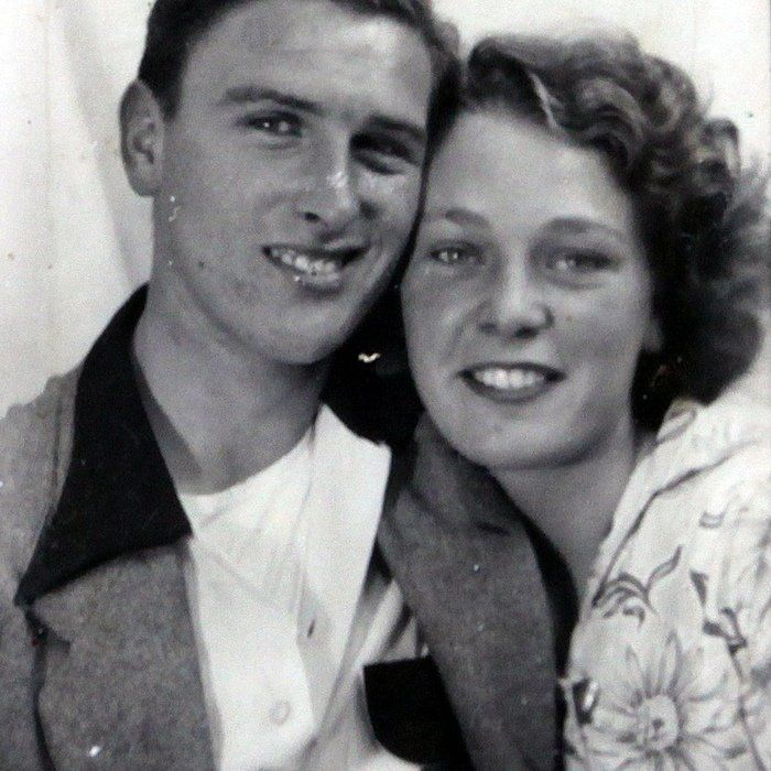 Eileen and Warner Billington aged 16 and 17, on the 'Charabanc' trip to Rhyls, North Wales, in 1950. Childhood sweethearts wh