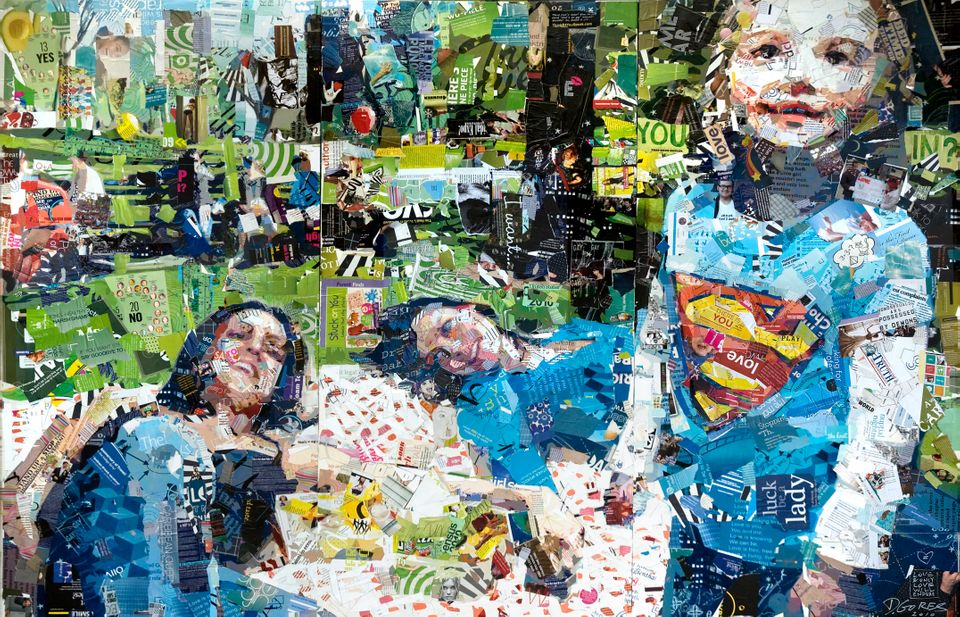 Artist Derek Gores creates collages from recycled magazine scraps, photos, data, maps and internet photos. This piece depicti
