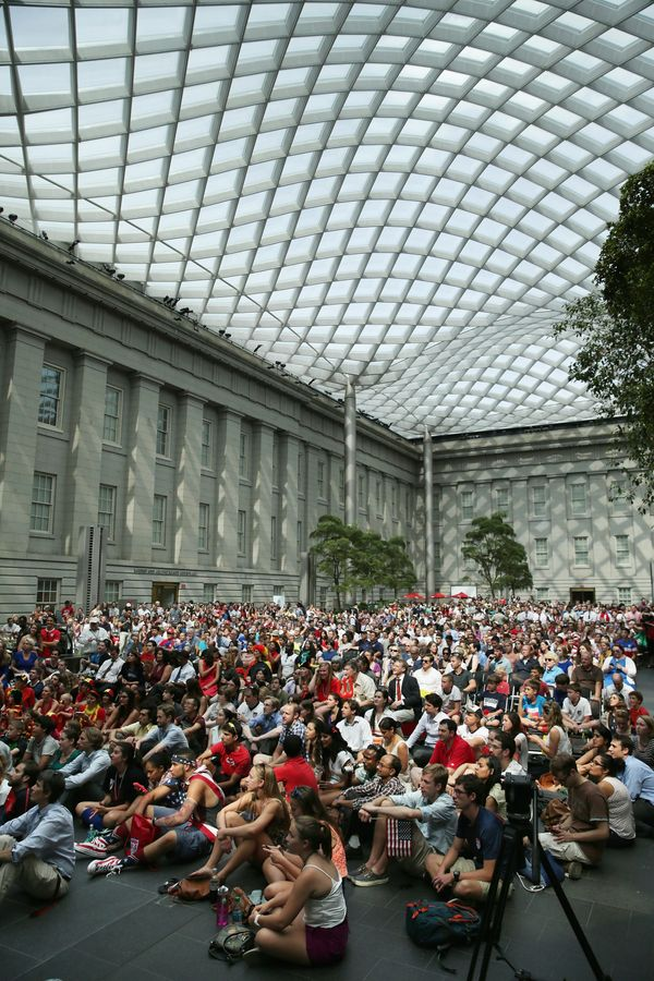 An estimated 1,000 people gather to watch the World Cup soccer match between Belgium and the United States in the Kogod Court