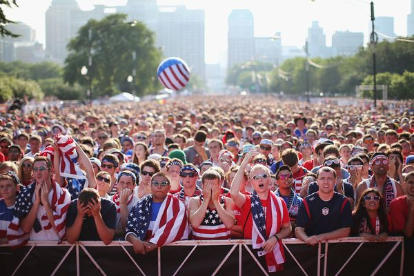 Fans gather in Grant Park to watch the U.S. play Portugal in a Group G World Cup soccer match on June 22, 2014 in Chicago, Il