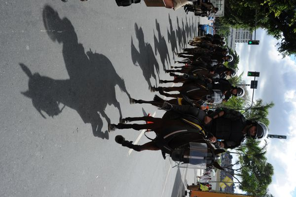 Mounted riot police stand by outside the Maracana stadium in Rio de Janeiro, Brazil on June 22, 2014 before the Russia vs Bel