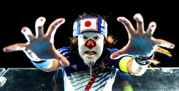 A Japan fan shows support prior to the 2014 FIFA World Cup Brazil Group C match between Japan and Greece at Estadio das Dunas