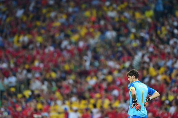 Spain's goalkeeper and captain Iker Casillas looks on during a Group B football match between Spain and Chile in the Maracana
