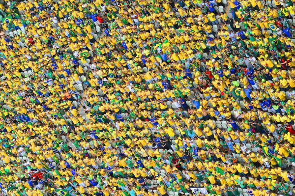A general view of Brazil fans during the 2014 FIFA World Cup Brazil Group A match between Brazil and Mexico at Castelao on Ju