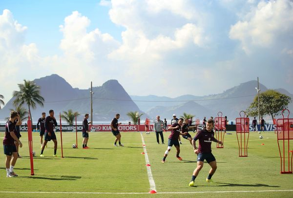 A general view as England train during a training session at the Urca military base (Forte de Urca) training ground at on Ju