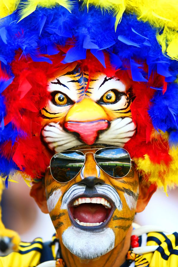 A Colombia fan shows support prior to the 2014 FIFA World Cup Brazil Group C match between Colombia and Greece at Estadio Min