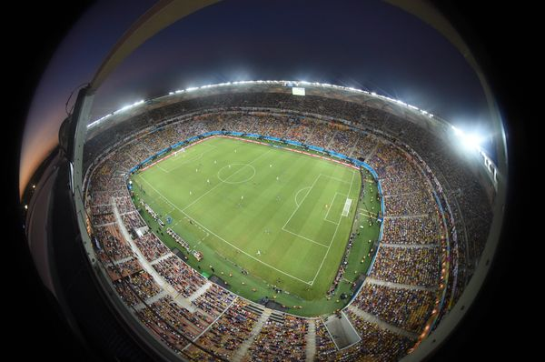A general view taken with a fish eye lens shows the Amazonia Arena in Manaus during a Group D football match against England