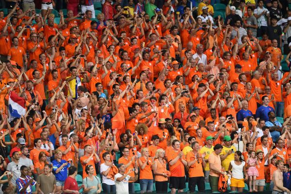 Netherlands fans cheer during the 2014 FIFA World Cup Brazil Group B match between Spain and Netherlands at Arena Fonte Nova