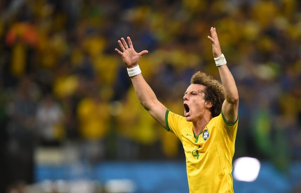 Brazil's defender David Luiz celebrates after the Group A football match between Brazil and Croatia at the Corinthians Arena