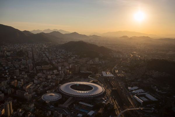 Aerial view of the Maracana stadium during sunset in Rio de Janeiro, Brazil, Sunday, June 8, 2014. The Word Cup soccer tourna
