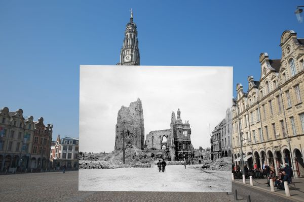 The colored photograph shows people walking near the Place des Heros in Arras, France, on March 14, 2014. The black and white