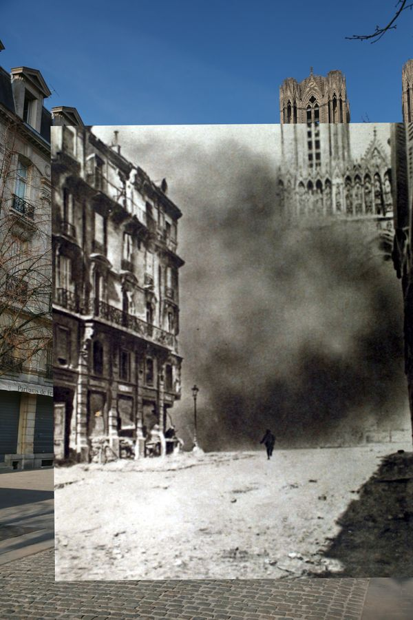 The first image shows people walking near the Cathedral in Reims, France, on March 11, 2014. The second image shows the cathe