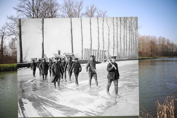 In the colored photo, trees surround the Somme canal on March 12, 2014 in Frise, France. In the black and white photo, Britis