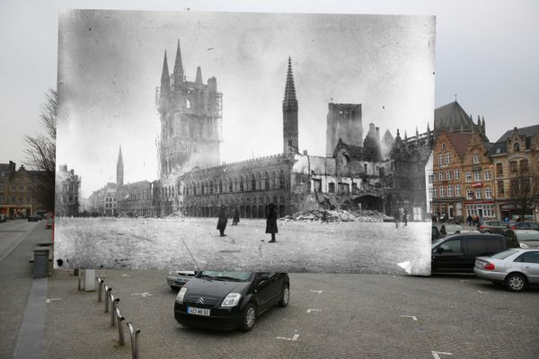 The first photos shows parked cars near Les Halles on the Grote Markt in Ypres on March 10, 2014. The second photo shows Les