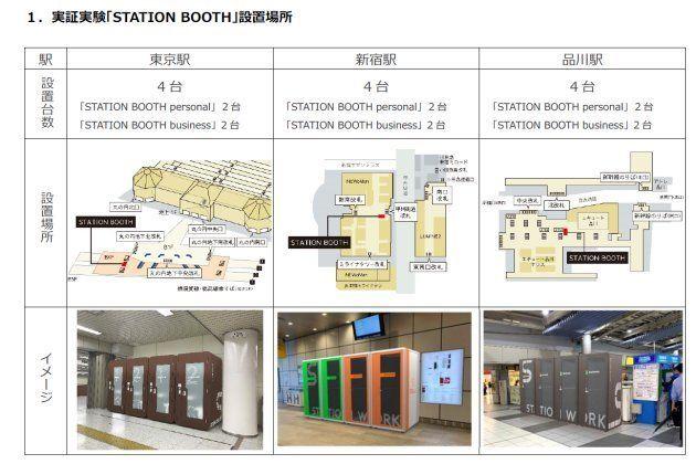 도쿄의 몇몇 지하철역에 '공중 사무실'이