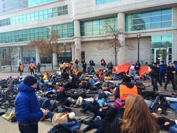 Protestors lay in solidarity outside justice center where Darren Wilson Grand Jury decision was read on November 25th, 2014