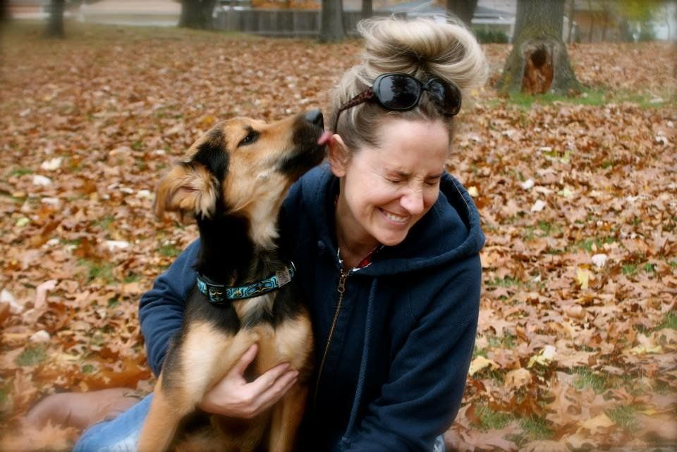 Here is Leo with his foster mom, Jamie Smith.