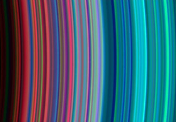 This close-up image of part of Saturn's rings was taken by the Cassini spacecraft on June 30. It shows, from left to right, t