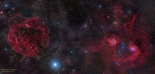 """Several celestial objects photographed in the same field of view by <a href=""""https://www.flickr.com/photos/deepskycolors/"""" ta"""