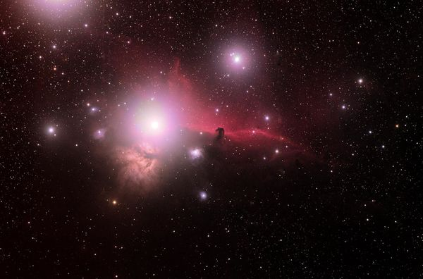 A widefield view of the Flame (NGC2024) and Horsehead (IC434) Nebulae in Orion, captured in December by astrophotographer <a